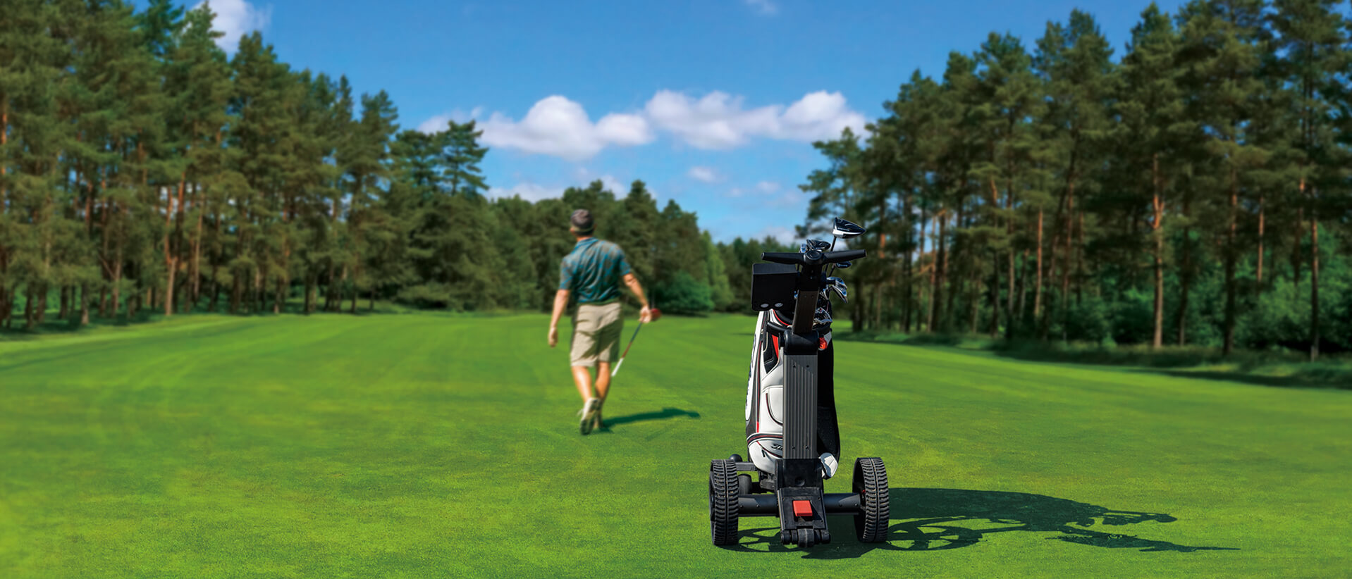 A Foresight Sports Smart Cart in action on a golf course.