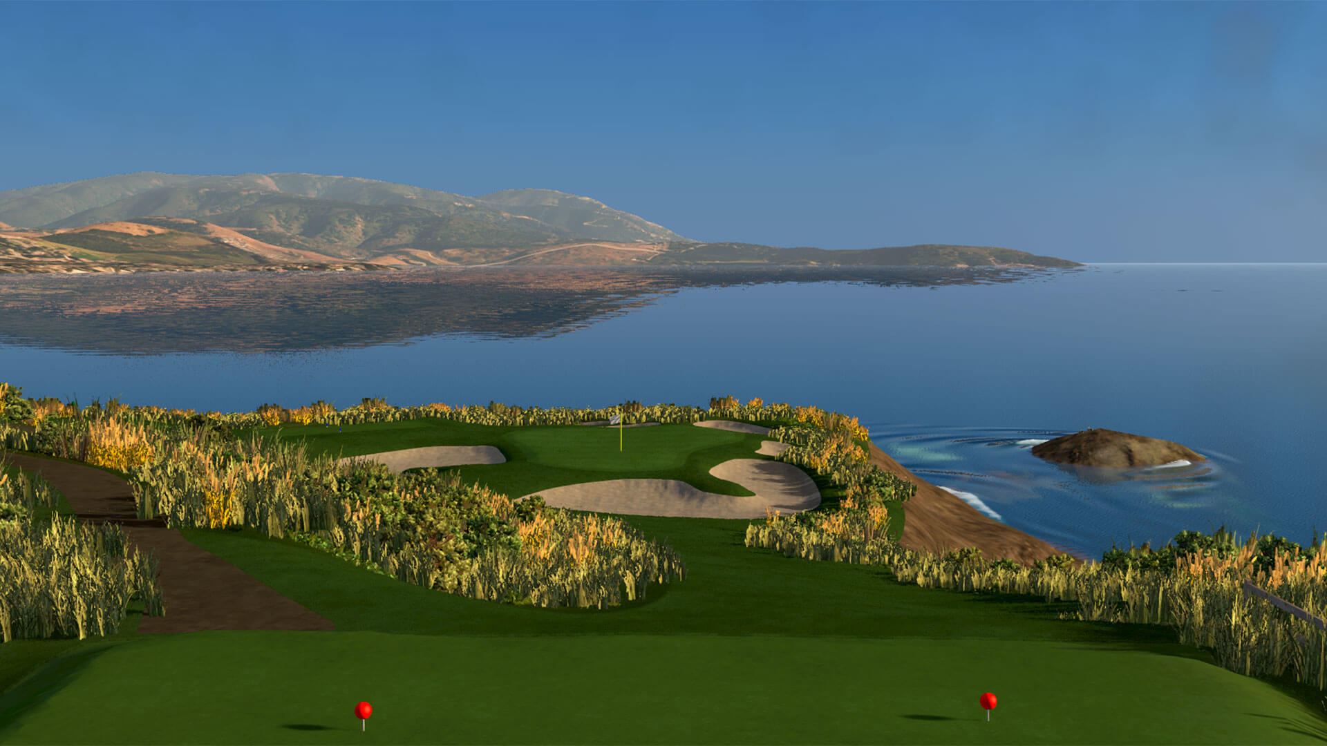 A realistic simulation of a golf course in FSX 2020.