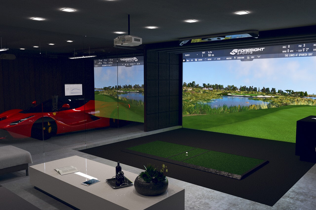 golf simulator with launch monitor