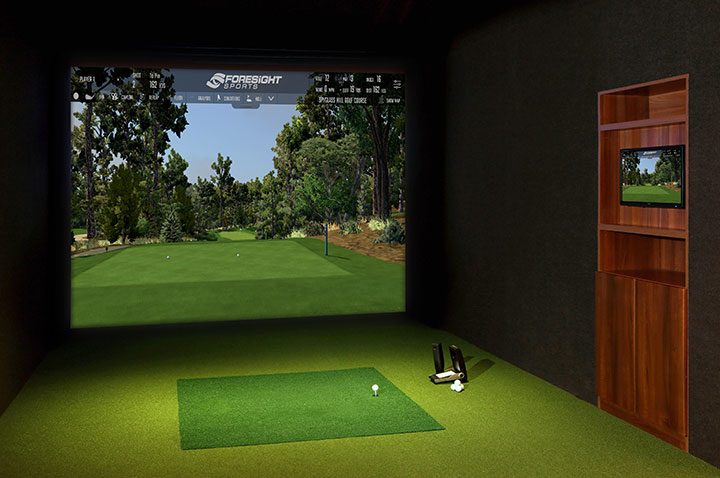 Golf simulators residential foresight sports for Golf simulator room dimensions