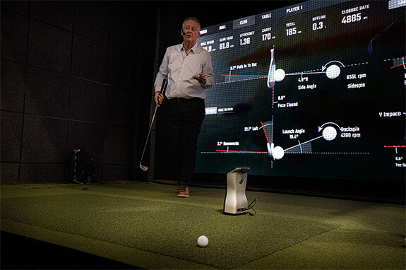 A demonstration of a Foresight Sports' golf launch monitor at the 2020 PGA Merchandise Show in Orlanda, Florida.