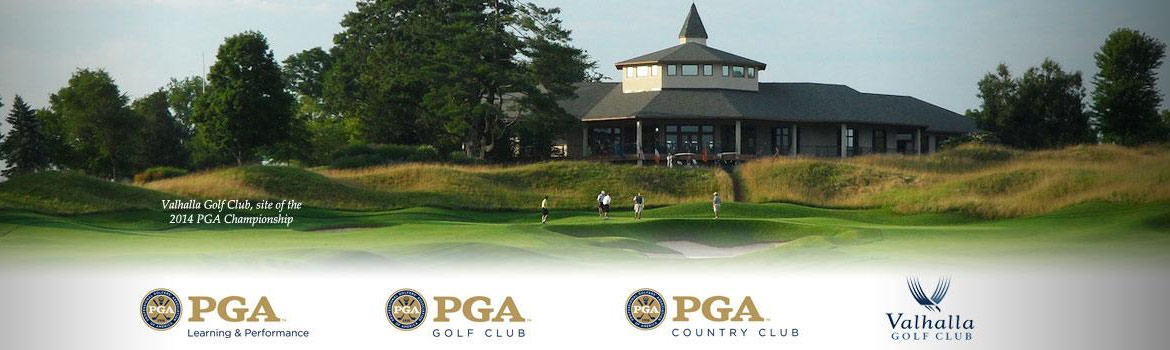 A banner for the Valhalla Golf Club, the site of the 2014 PGA Championship.