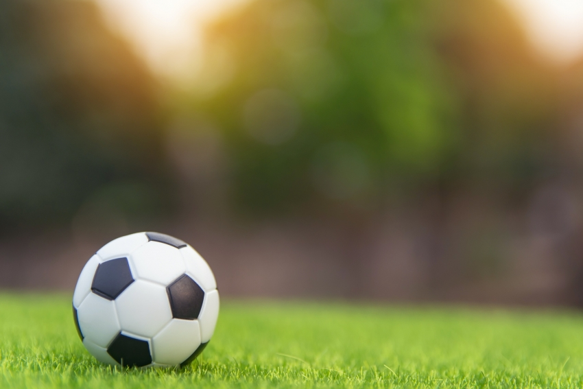 A soccer ball on a grass field.
