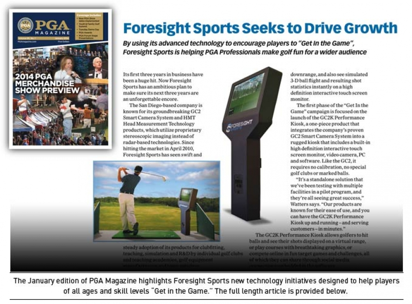 An article about Foresight Sports published on PGA Magazine.
