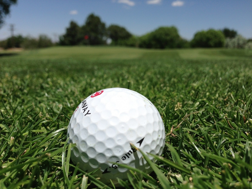 golf ball on beautiful green field