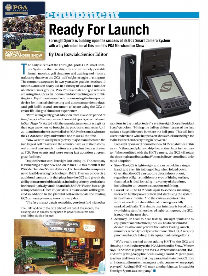 An article from PGA Magazine January 2012 Pre-Show Issue featuring Foresight Sports.