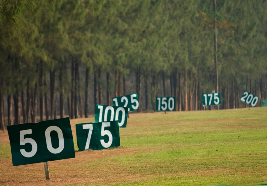 Yard signs in driving range