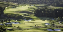 A wide shot of a golf course.